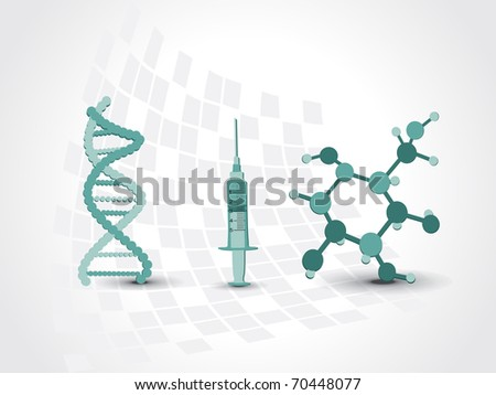 medical background with dna, atomic structure and syringe - stock vector