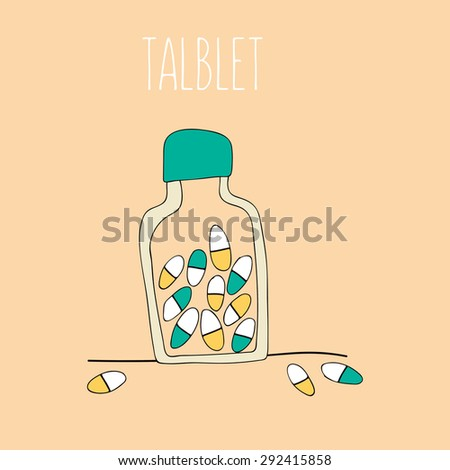 Medical background with pills  and bottle - stock vector