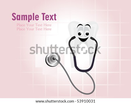 medical background with stethoscope examining teeth - stock vector