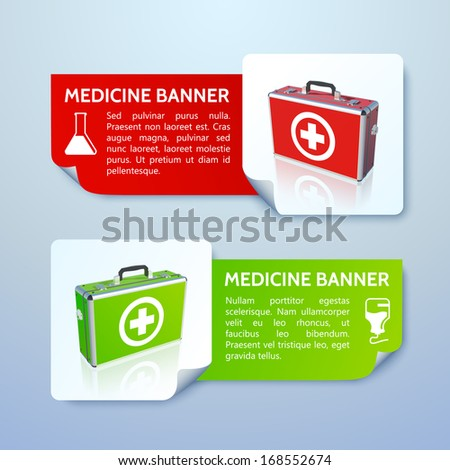 Medical bag banners set. Vector Illustration, eps 10, contains transparencies. - stock vector