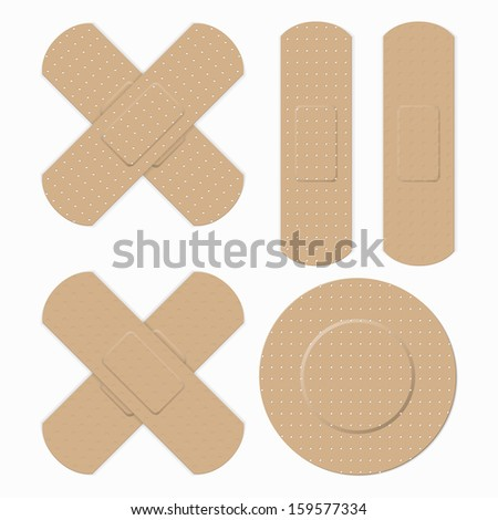 Medical bandage in different shape - stock vector