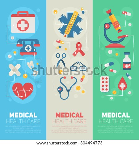 Medical banners templates in trendy flat style with main health care elements - emergency kit, heart, pills, cross
