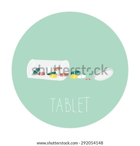 Medical bottle background with pills vector - stock vector