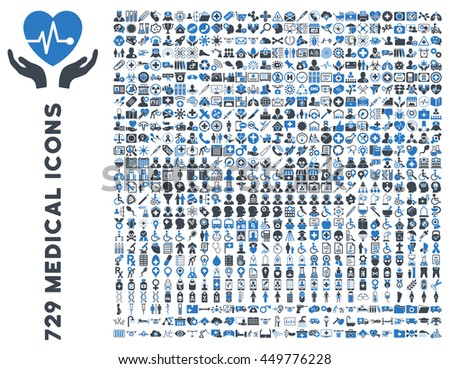 Medical business and healthcare vector icon collection. Style is bicolor smooth blue flat icons isolated on a white background. - stock vector