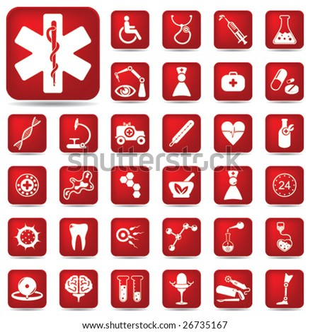 Medical buttons set 3 - stock vector