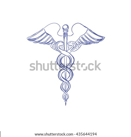 Medical caduceus sign, sketch style, vector illustration