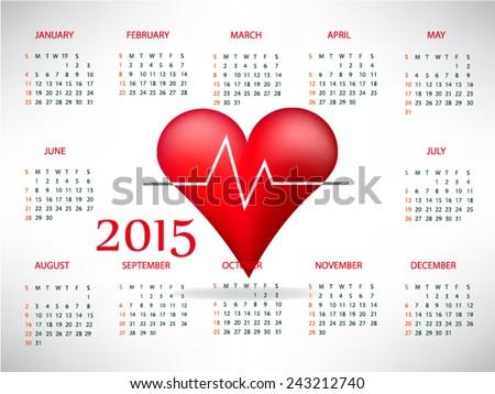 Medical calendar for 2015 - stock vector