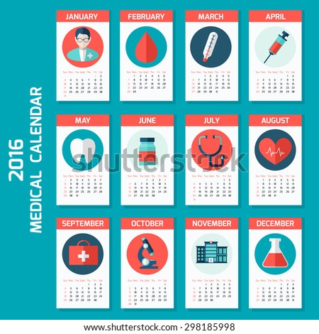 Medical calendar for 2016 year (week starts on Sunday). Colorful theme for your design, prints and illustrations - stock vector