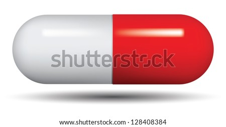 Medical capsule isolated on white background, vector. - stock vector