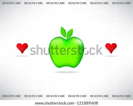 Medical card with apple - stock vector