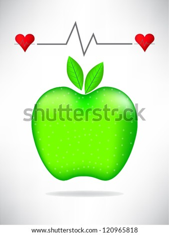 Medical card with green apple - stock vector