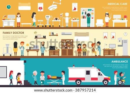 Medical Care Family Doctor Ambulance flat hospital interior outdoor concept web vector illustration. Sugrery, Patients, First Aid, Medicine service Presentations - stock vector