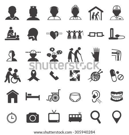 medical care in elderly icon set - stock vector