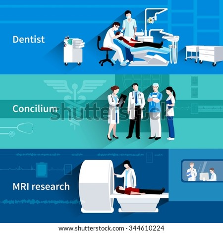 Medical care professional concilium 3 horizontal banners set with dentist and mri scan abstract isolated vector illustration - stock vector
