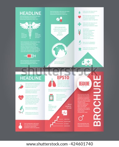 Medical Care Template. Brochure, Flyer & Cover Design with Medicine Elements. Vector illustration