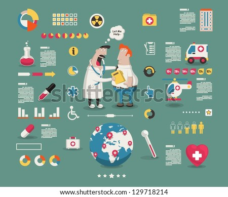 medical cartoon info graphic elements, - stock vector
