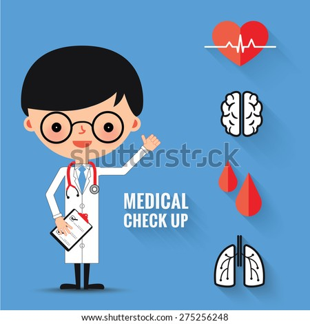 Medical check up with man doctor characters and icons set. - stock vector