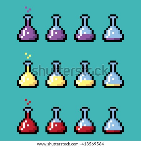 Medical chemical bottles with elixir in pixel style. Different stages from full to empty. - stock vector
