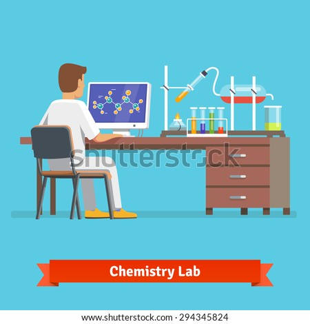 Medical chemistry lab worker researching molecular structure of chemical compound received in experiment. Flat vector illustration. - stock vector