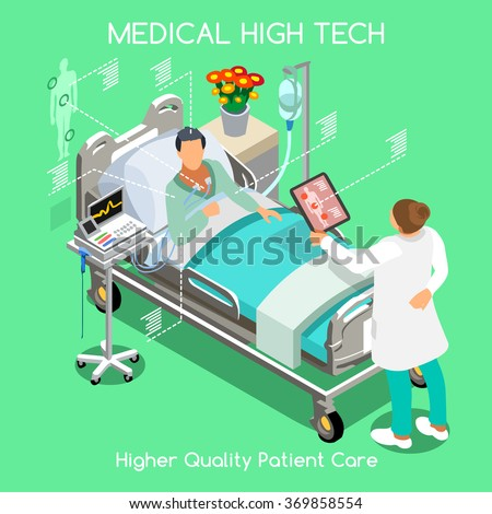 Medical Clinic High Tech Fast Diagnosis Doctor and Drug Medicine Test Control. Patient Bed and Doctor Medical Staff.Healthcare 3D Flat Isometric People Collection Hospital Patient Visit Vector Image. - stock vector
