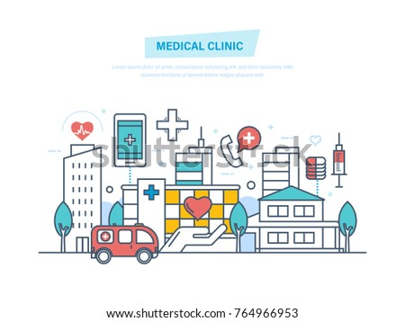Medical clinic hospital building healthcare medical stock vector medical clinic hospital building healthcare medical facility ambulance city building ccuart Images