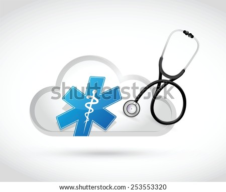 medical cloud computing concept illustration design over a white background - stock vector