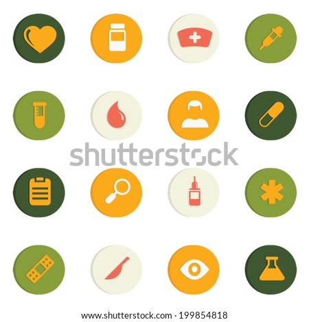Medical 4 color with drop shadow icons set 16 in 1