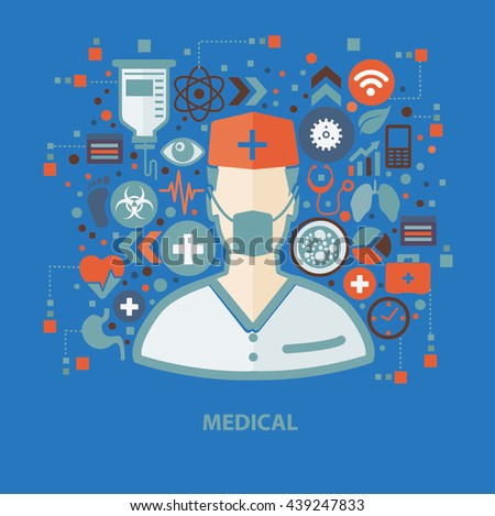 Medical concept design on blue background,vector