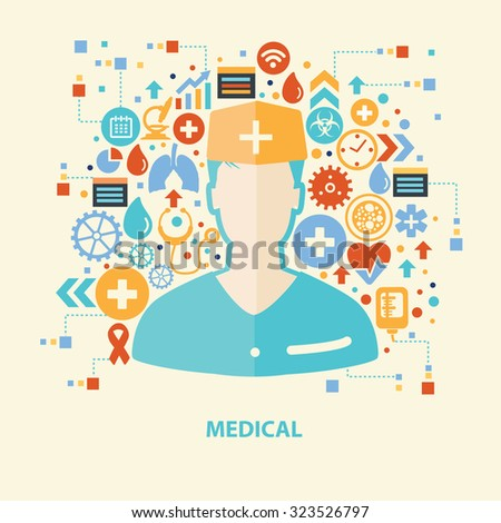 Medical concept design on old background,clean vector