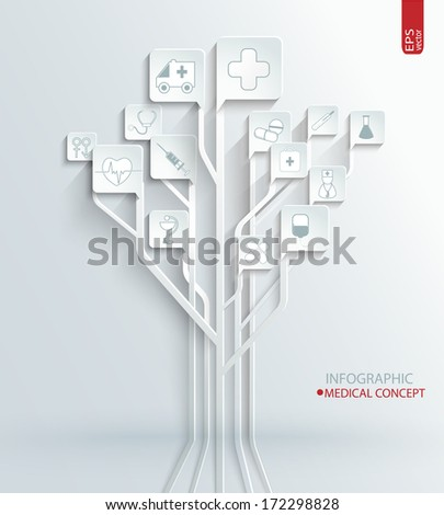 Medical concept in paper style. - stock vector