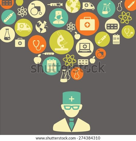 Medical concept The concept of medicine. Silhouette of doctor with many medical icons   - stock vector