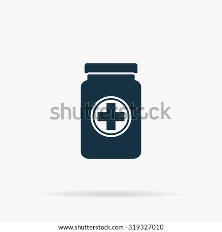 Medical container. Flat vector web icon or sign on grey background with shadow. Collection modern trend concept design style illustration symbol - stock vector