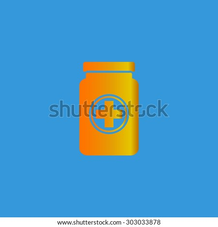 Medical container. Flat web icon or sign isolated on grey background. Collection modern trend concept design style vector illustration symbol - stock vector