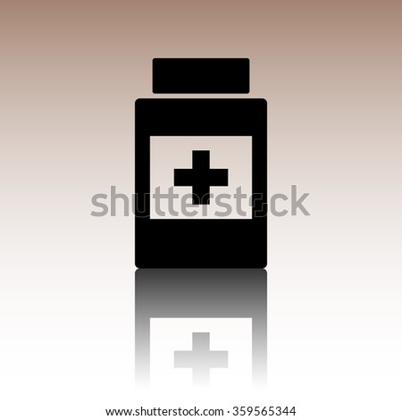 Medical container icon. Black vector illustration with reflection.