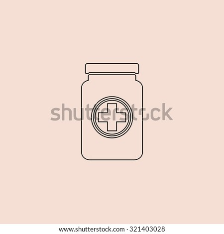 Medical container. Outline vector icon. Simple flat pictogram on pink background - stock vector