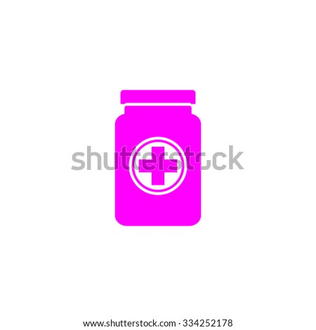 Medical container. Pink flat icon. Simple vector illustration pictogram on white background - stock vector