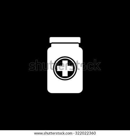 Medical container. Simple flat icon. Black and white. Vector illustration - stock vector