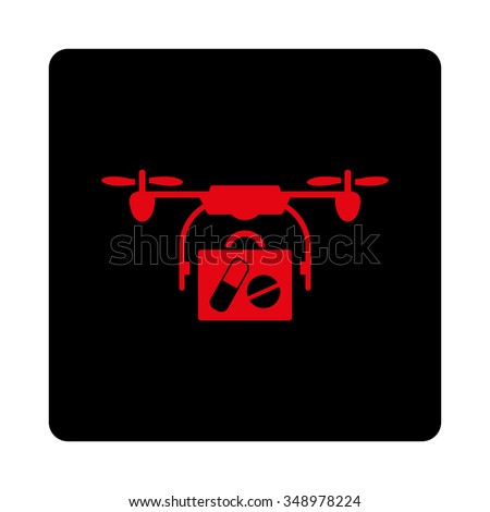 Medical Copter Shipping vector icon. Style is flat rounded square button, intensive red and black colors, white background.