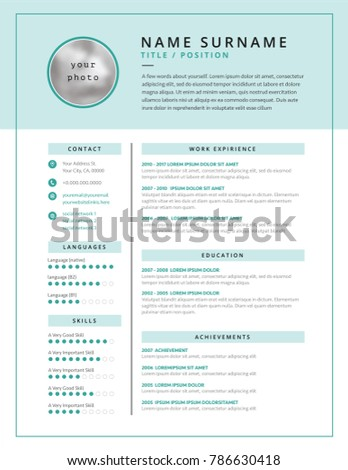 Medical CV Resume Template Example Design Stock Vector (Royalty Free)  786630418   Shutterstock