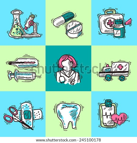 Medical design concept with first aid kit healthcare services icons sketch isolated vector illustration - stock vector