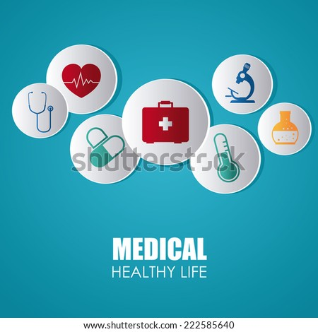 Medical design over blue background, vector illustration