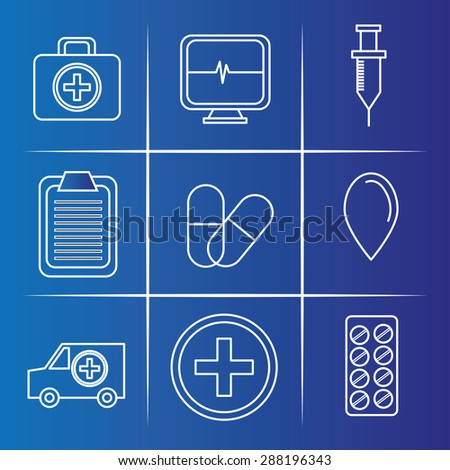 Medical design over blue background, vector illustration.