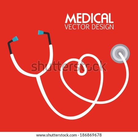 Medical design over red background, vector illustration