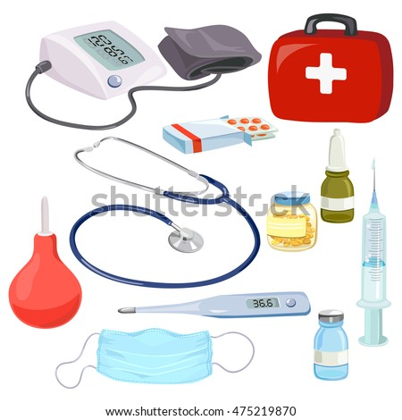 medical devices, doctors instruments, isolated. vector illustration