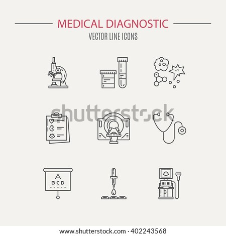 Medical diagnostic vector. Medical diagnostic icons. Medical line series. Medical objects. Medical icons made in line style. Medical research symbols. Medical symbols isolated on background. - stock vector