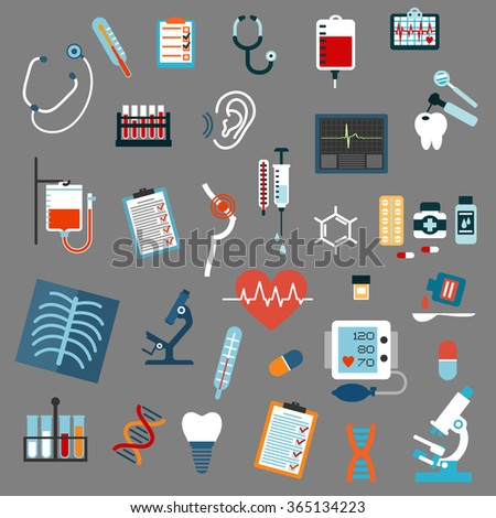 Medical diagnostics and equipment flat icons with stethoscopes, microscopes, thermometers, pills, syringe, blood test and bags, x-ray, ecg, blood pressure, hearing and breast testing, dna and tooth