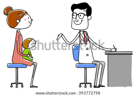 medical doctor. Examination of the infant. vector illustration.