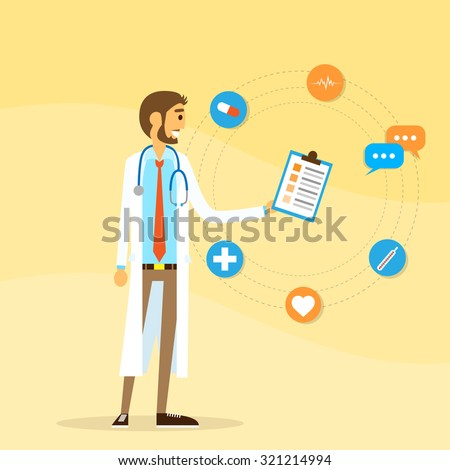 Medical Doctor Icon Male Portrait Flat Design Vector Illustration - stock vector