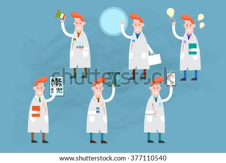 Medical Doctor Man Icon Set Collection Vector Illustration - stock vector