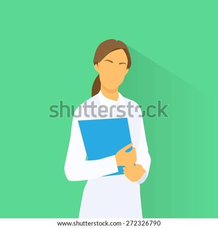 Medical Doctor Profile Icon Female with Folder Portrait Flat Design Vector Illustration - stock vector